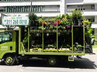 a flower/plant delivery truck.