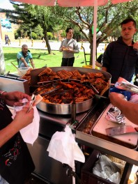 Fried Pork, plantains, and potatos. Delicious
