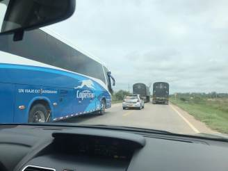 That is the other lane of the highway - and buses drive faster than all of us..