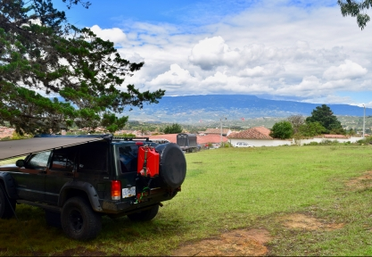 Our campsite for the night - with the town of Villa de Leyva in the background.