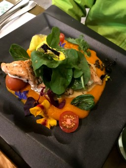 Trout on a bed of sweet potato puree